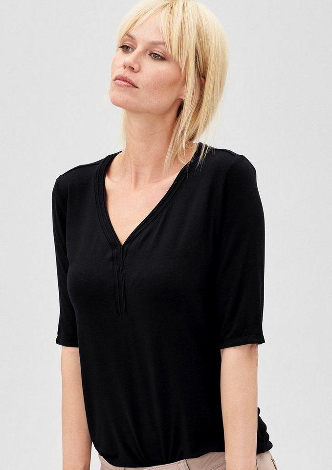 s.Oliver PREMIUM Shirt mit paspeliertem Ausschnitt in black kiss
