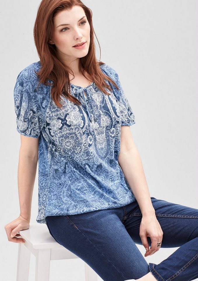 TRIANGLE O Shape-Shirt im Tunika-Style in pigeon grey
