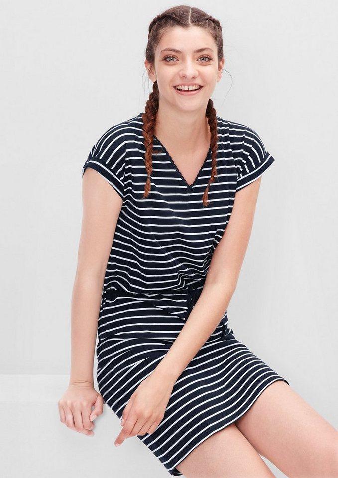 s.Oliver RED LABEL Gemustertes Jerseykleid in eclipse blue stripes