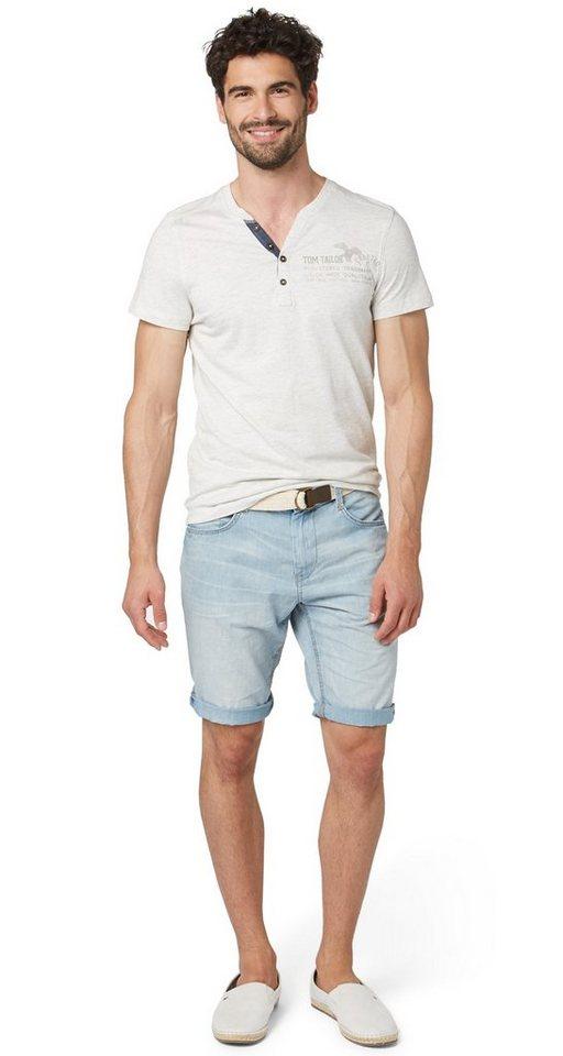 TOM TAILOR Shorts »Denim-Shorts mit Gürtel« in light stone wash den
