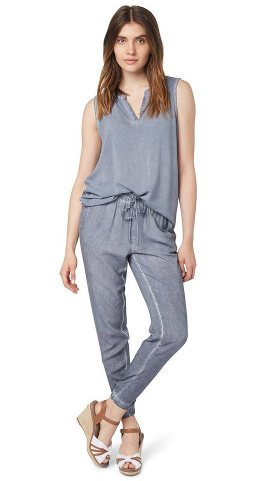 TOM TAILOR Hose »dyed loose fit pants« in steal blue