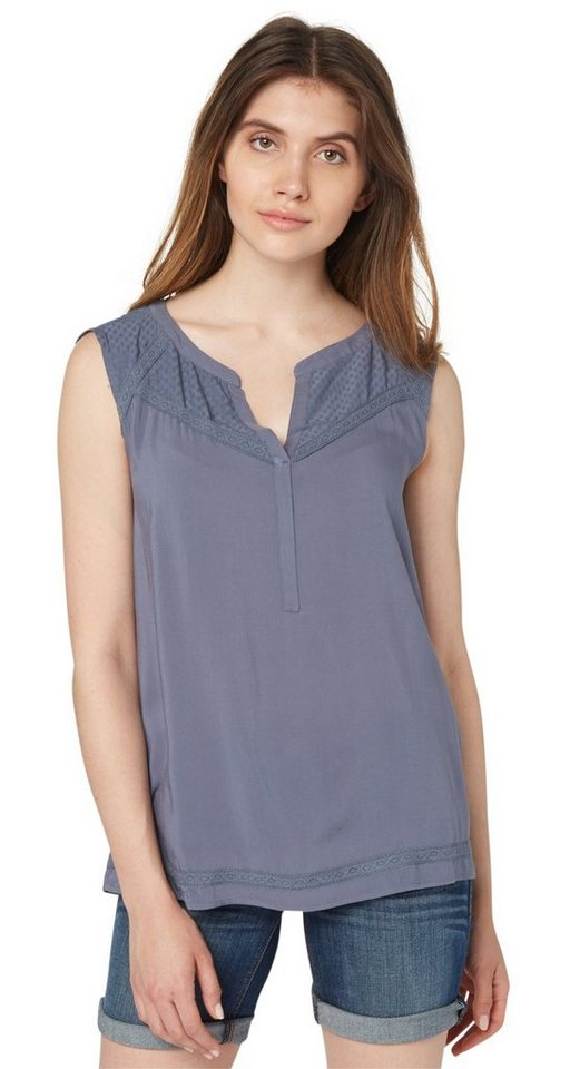 TOM TAILOR Bluse »Stoffmix-Top mit Spitzen-Tape« in steal blue