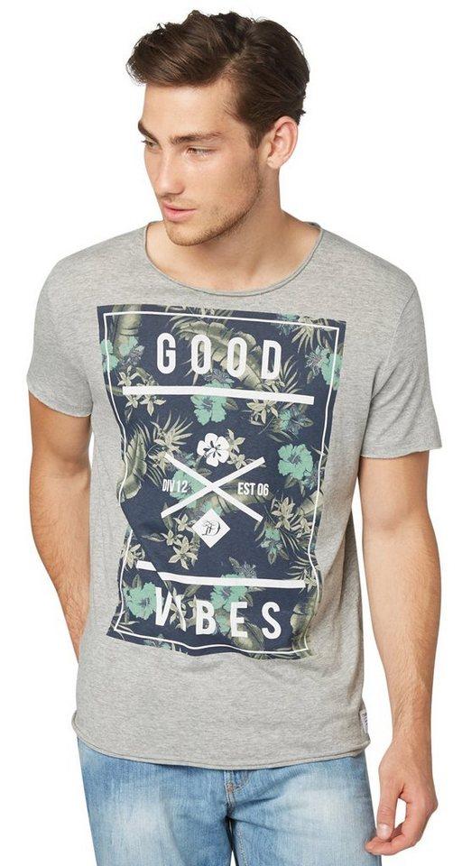 TOM TAILOR DENIM T-Shirt »T-Shirt mit Tropical-Print« in melange