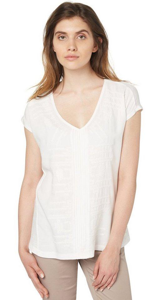 TOM TAILOR T-Shirt »Stoffmix-Shirt im Bohemian-Stil« in whisper white