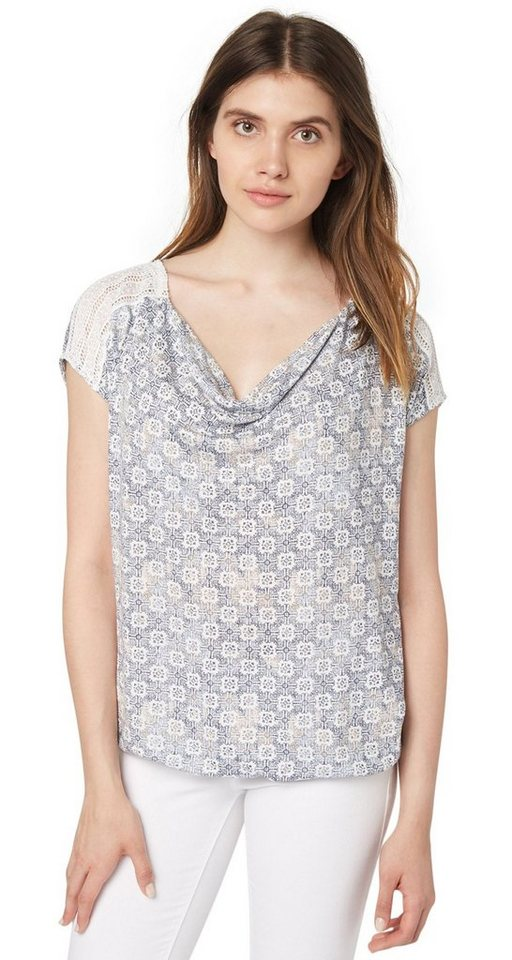 TOM TAILOR T-Shirt »Print-Shirt mit Spitzen-Einsatz« in whisper white
