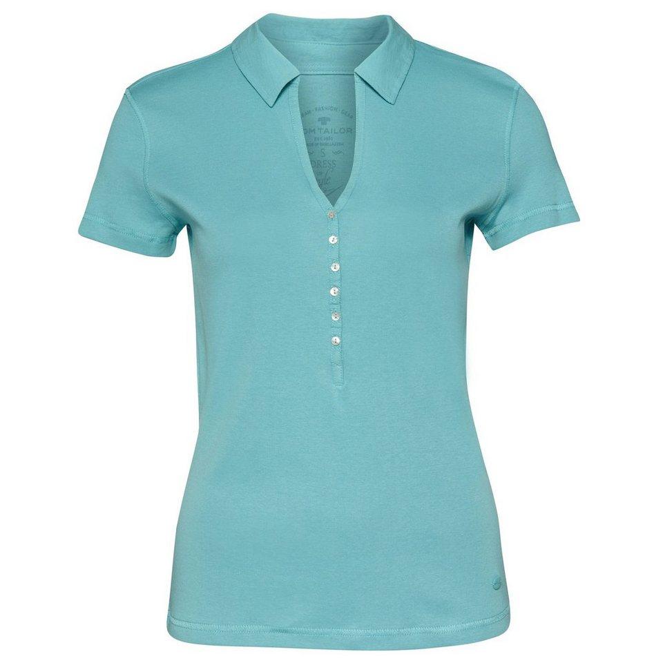 TOM TAILOR Poloshirt »elegantes Polo-Shirt« in Pool Turquoise