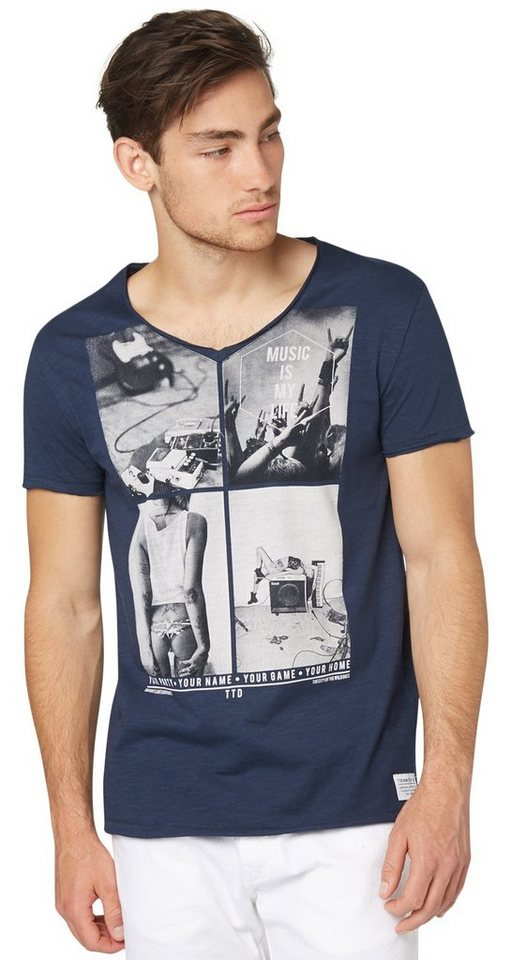 TOM TAILOR DENIM T-Shirt »T-Shirt mit Collage-Print« in agate stone blue