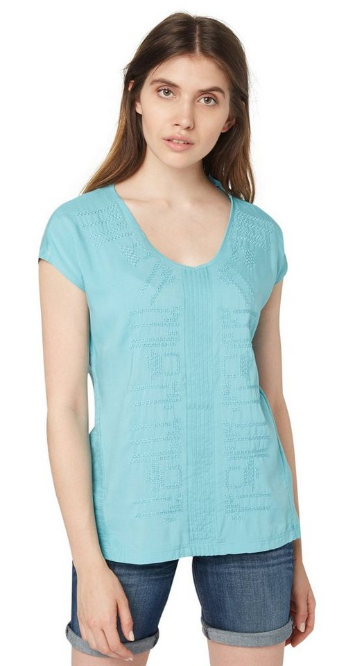 TOM TAILOR T-Shirt »bohemian mix top« in Pool Turquoise