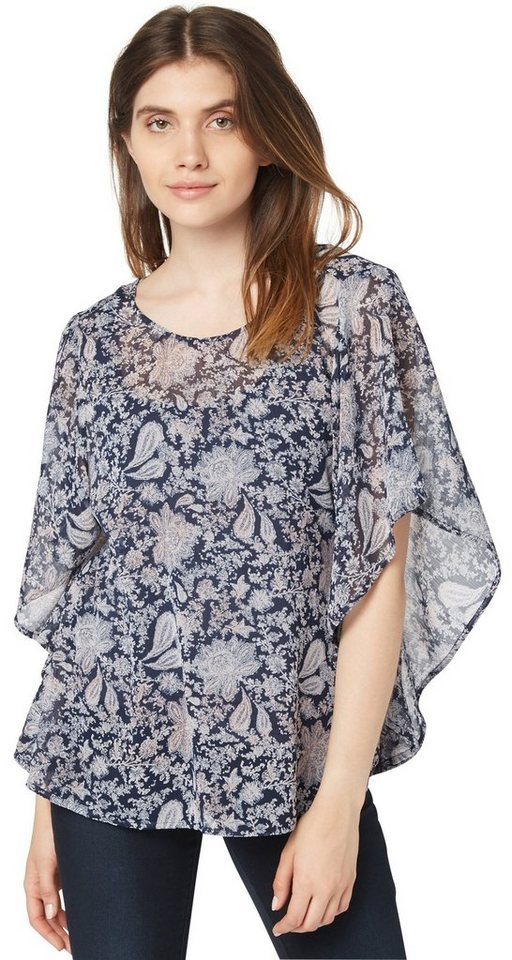 TOM TAILOR Bluse »trendy print tunic« in real navy blue