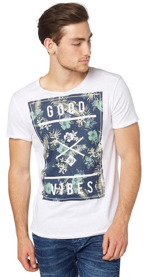 TOM TAILOR DENIM T-Shirt »T-Shirt mit Tropical-Print« in white