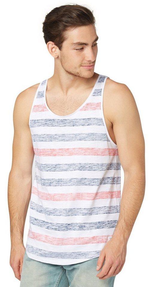 TOM TAILOR DENIM T-Shirt »inside printed striped tank« in agate stone blue
