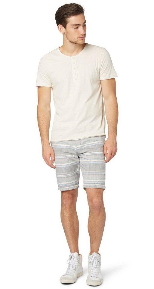 TOM TAILOR DENIM Shorts »getreifte Chino-Bermuda« in steel grey