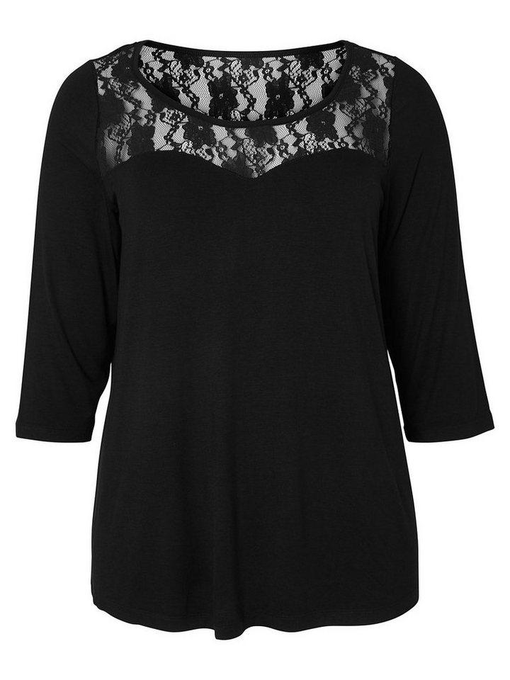 JUNAROSE Spitzendetaillierte Bluse in Black