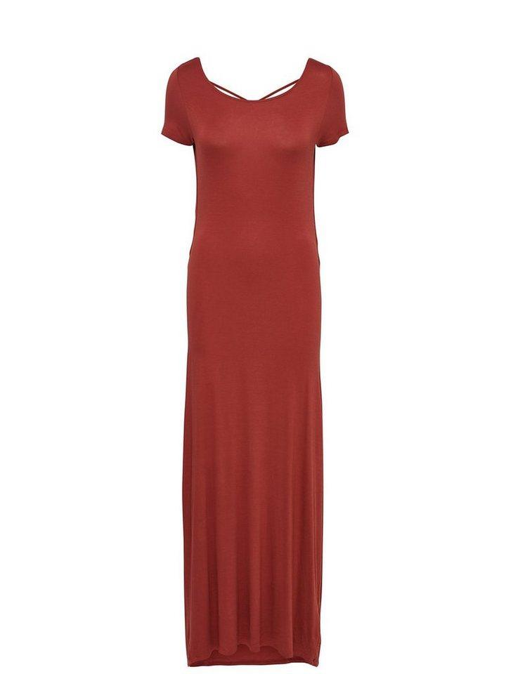 Only Rückenfrei Kleid mit kurzen Ärmeln in Marsala