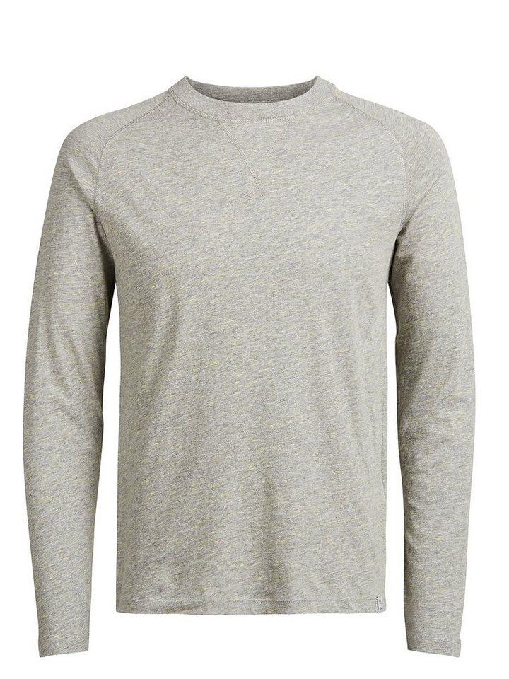 Jack & Jones Basic- T-Shirt mit langen Ärmeln in Light Grey Melange