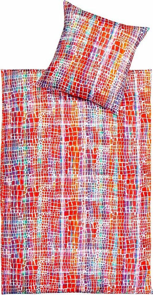 Bettwäsche, Estella, »Force«, im gesprenkeltem Design in rot