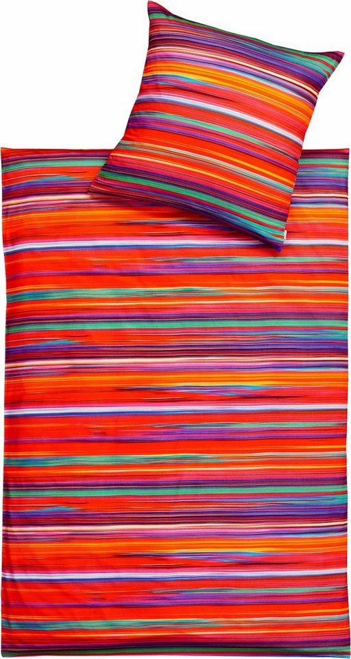 Bettwäsche, Estella, »Magic«, im gestreiften Design in rot