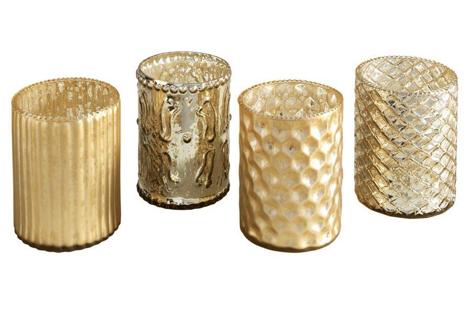 Windlichter, 4er-Set in goldfarben