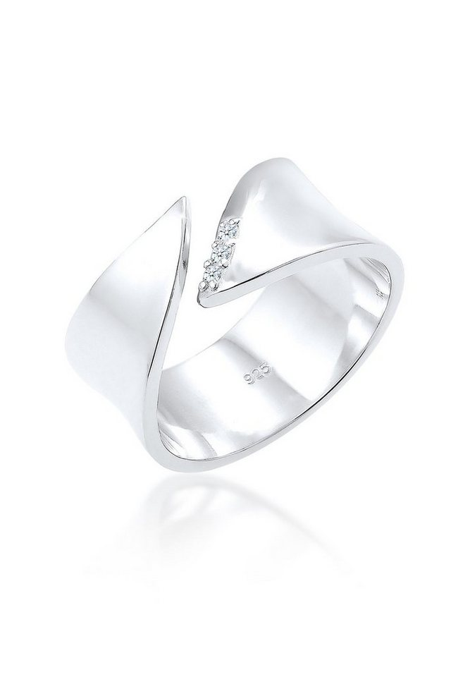 DIAMORE Ring »Wickelring Diamant 0.06 ct. 925 Silber« in Weiß