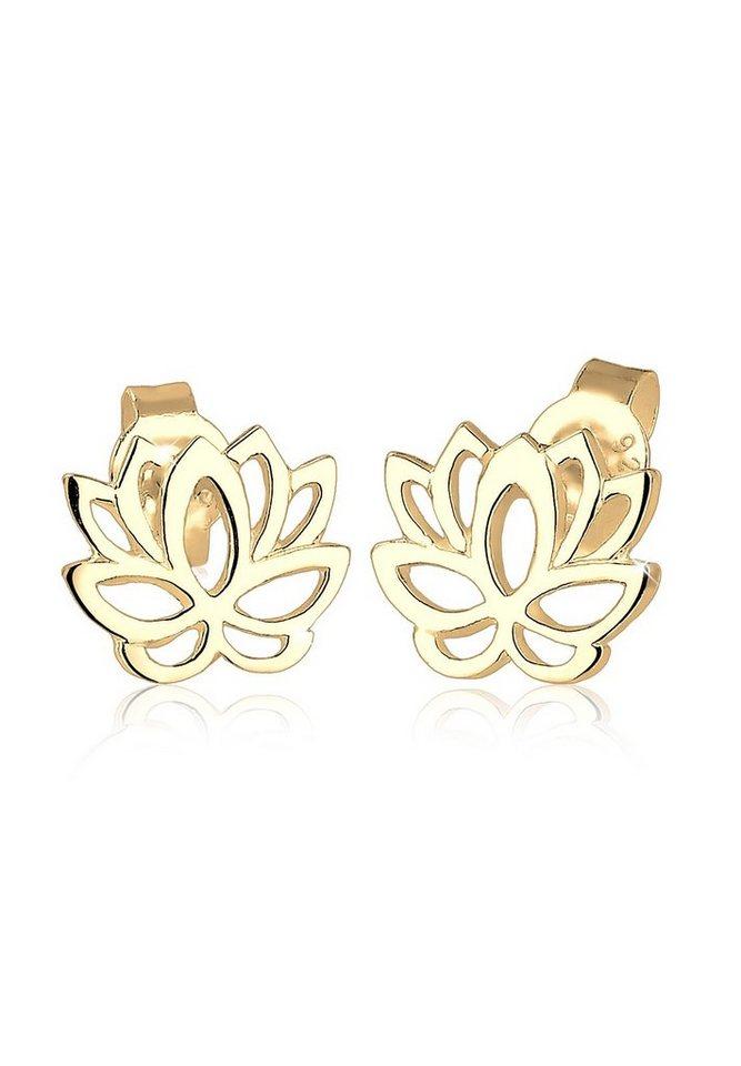 Elli Ohrringe »Lotusblume Blume Blüte Natur Lotus vergoldet« in Gold
