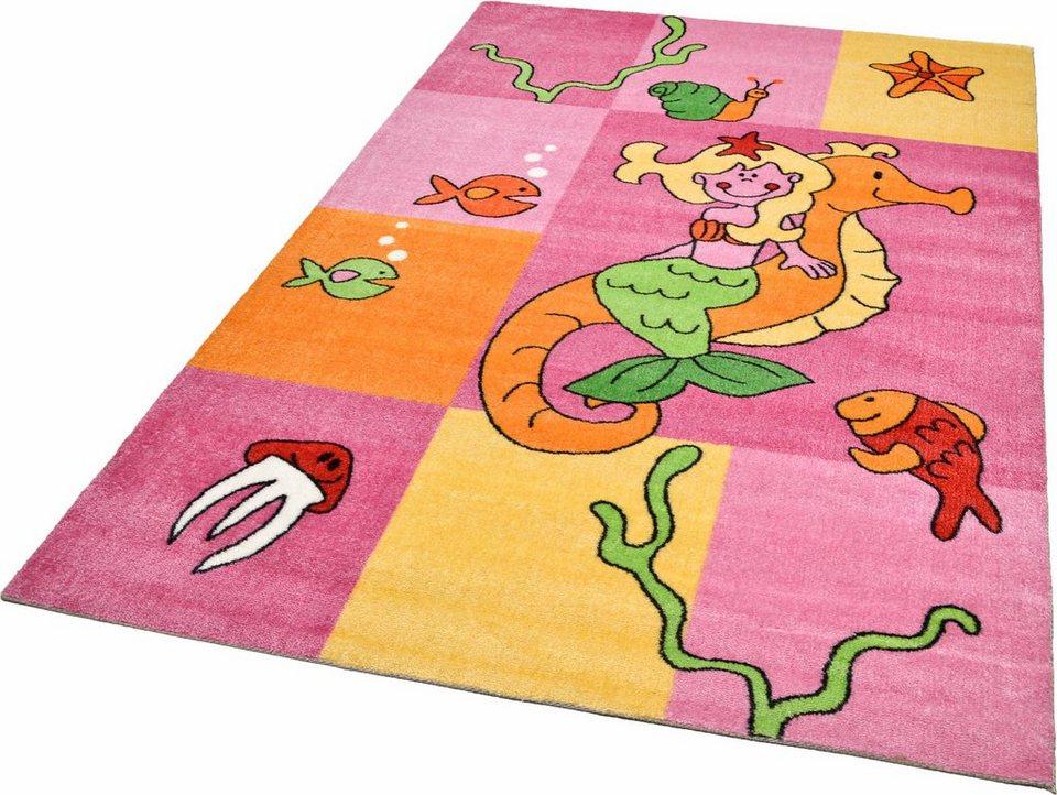 Kinderteppich »Meerjungfrau«, Theko, rechteckig, Höhe 12 mm, Ökotex Zertifizierung in rosa