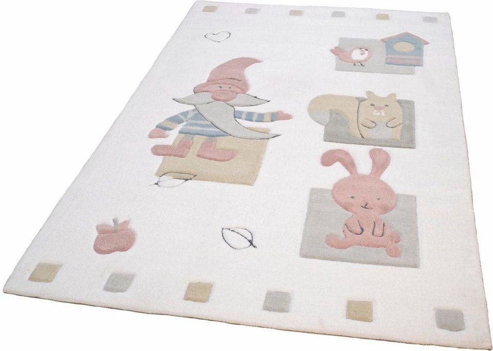 Kinder-Teppich, Theko, »Zwerg«, handgetuftet in weiss