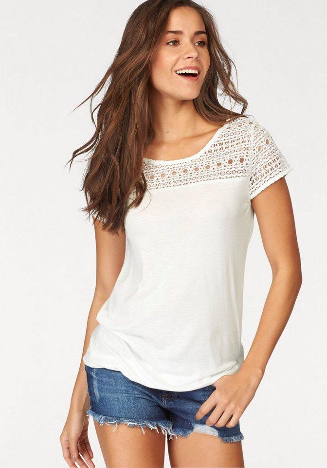 LASCANA T-Shirt mit Spitzeneinsatz vorn in creme