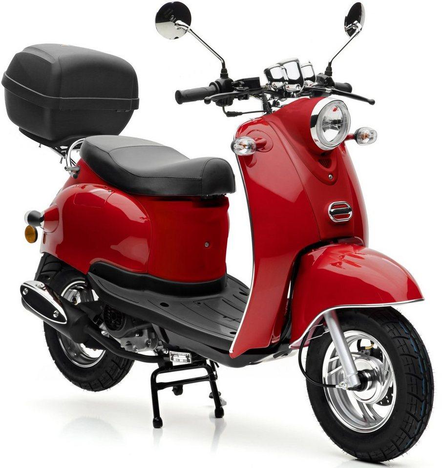Nova Motors SET: Mofaroller inkl. Topcase, Faltgarage, Kettenschloss, 49 ccm, 25 km/h, »Venezia« in rot