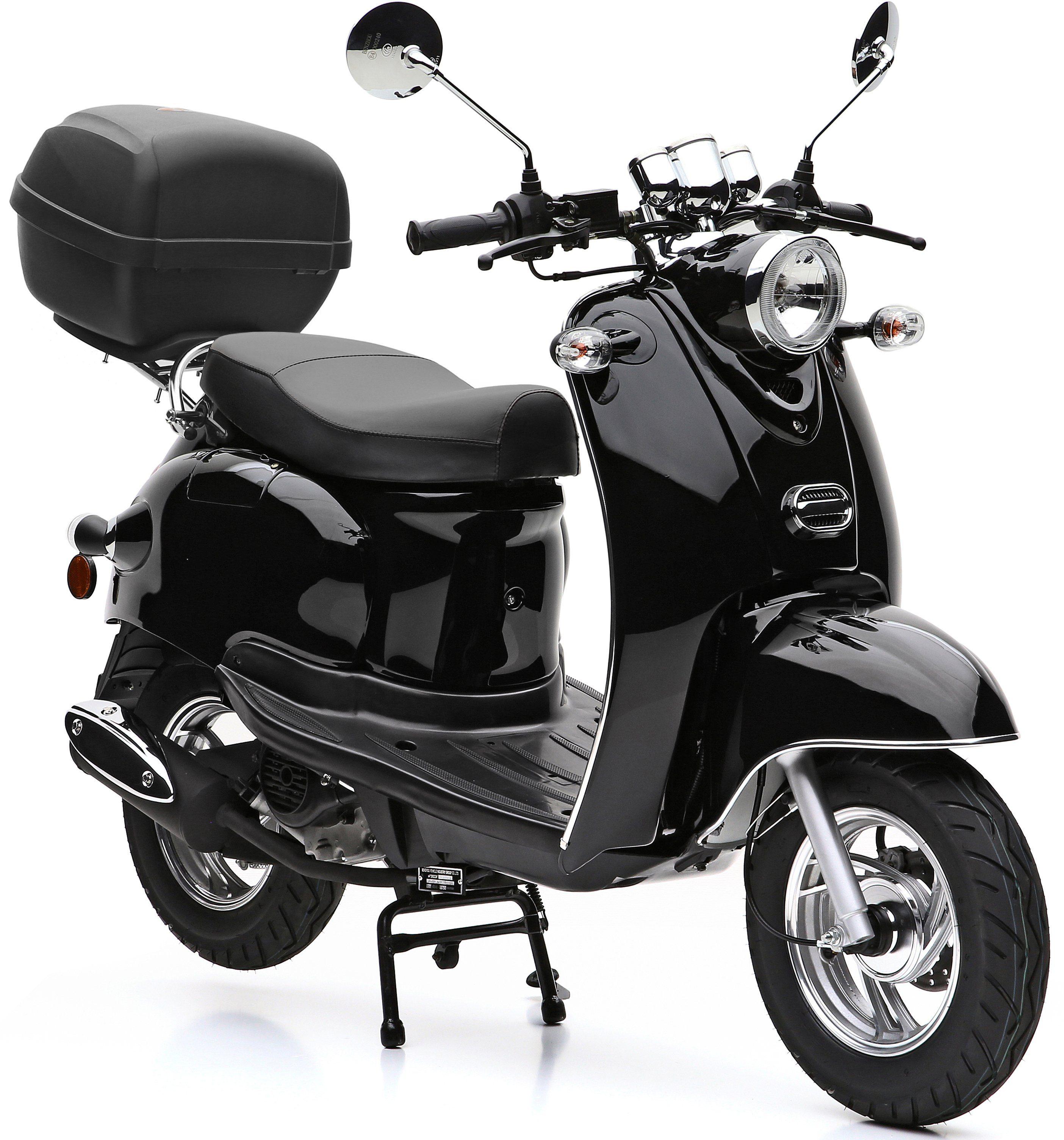 Nova Motors SET: Mofaroller inkl. Topcase, Faltgarage, Kettenschloss, 49 ccm, 25 km/h, »Venezia«