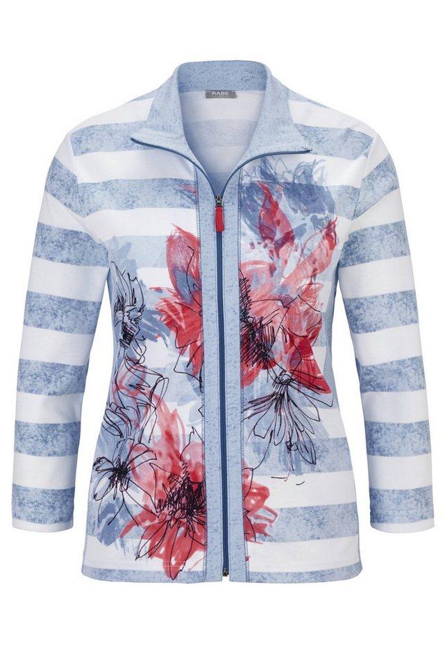Rabe Jacke mit Streifen und Blumenprint in RAUCH