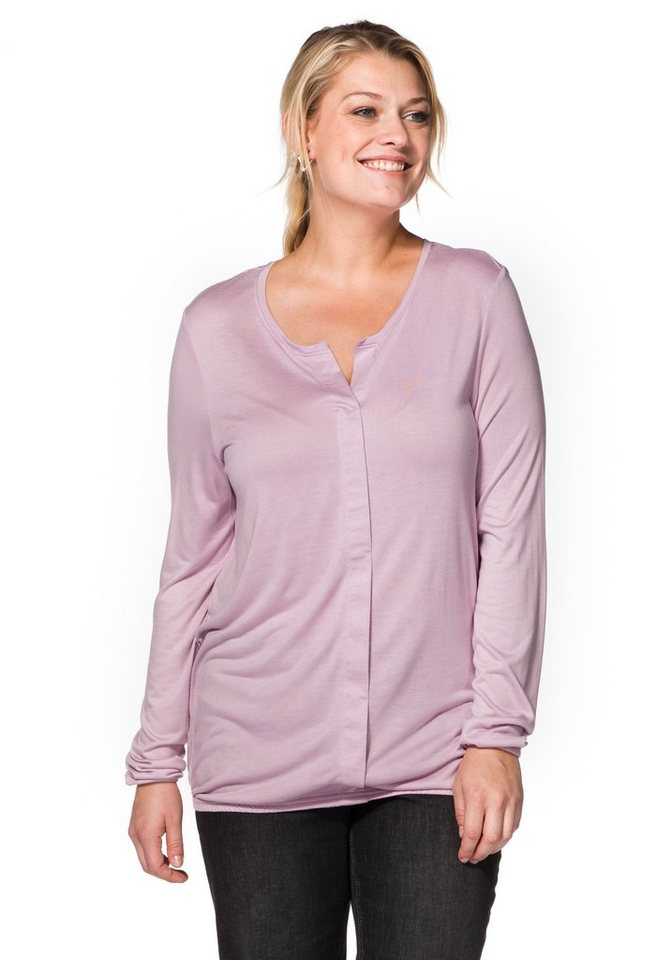 sheego Casual Langarmshirt mit Frontleiste in altrosé