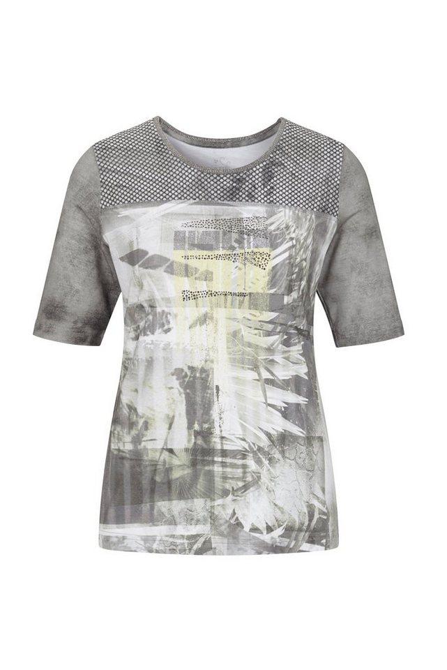 Rabe T-Shirt mit Ziersteinen und Mesheinsatz in SCHILF