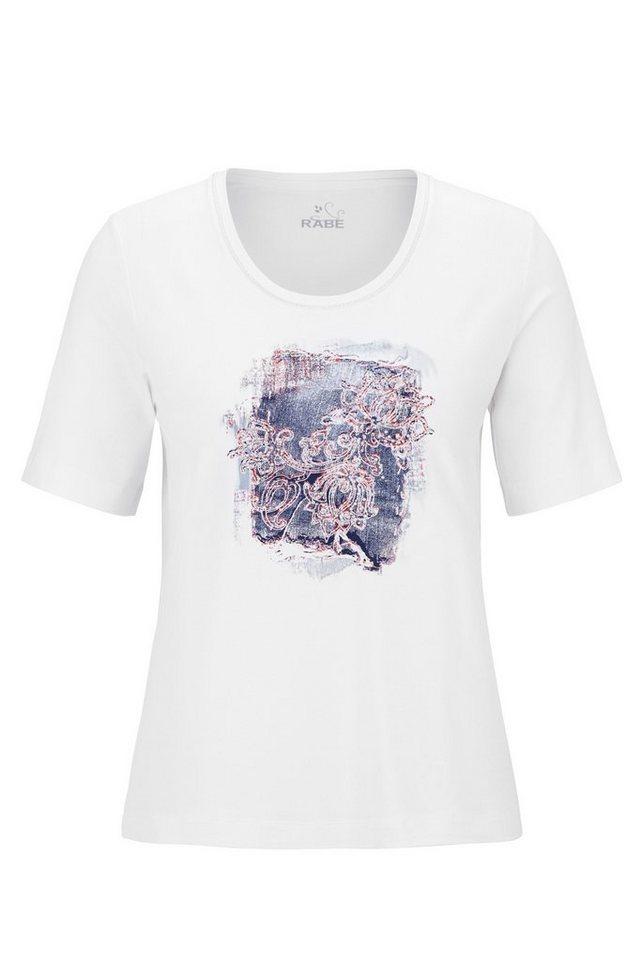 Rabe Pflegeleichtes T-Shirt mit Motivdruck und Rundhalsausschnitt in WEISS