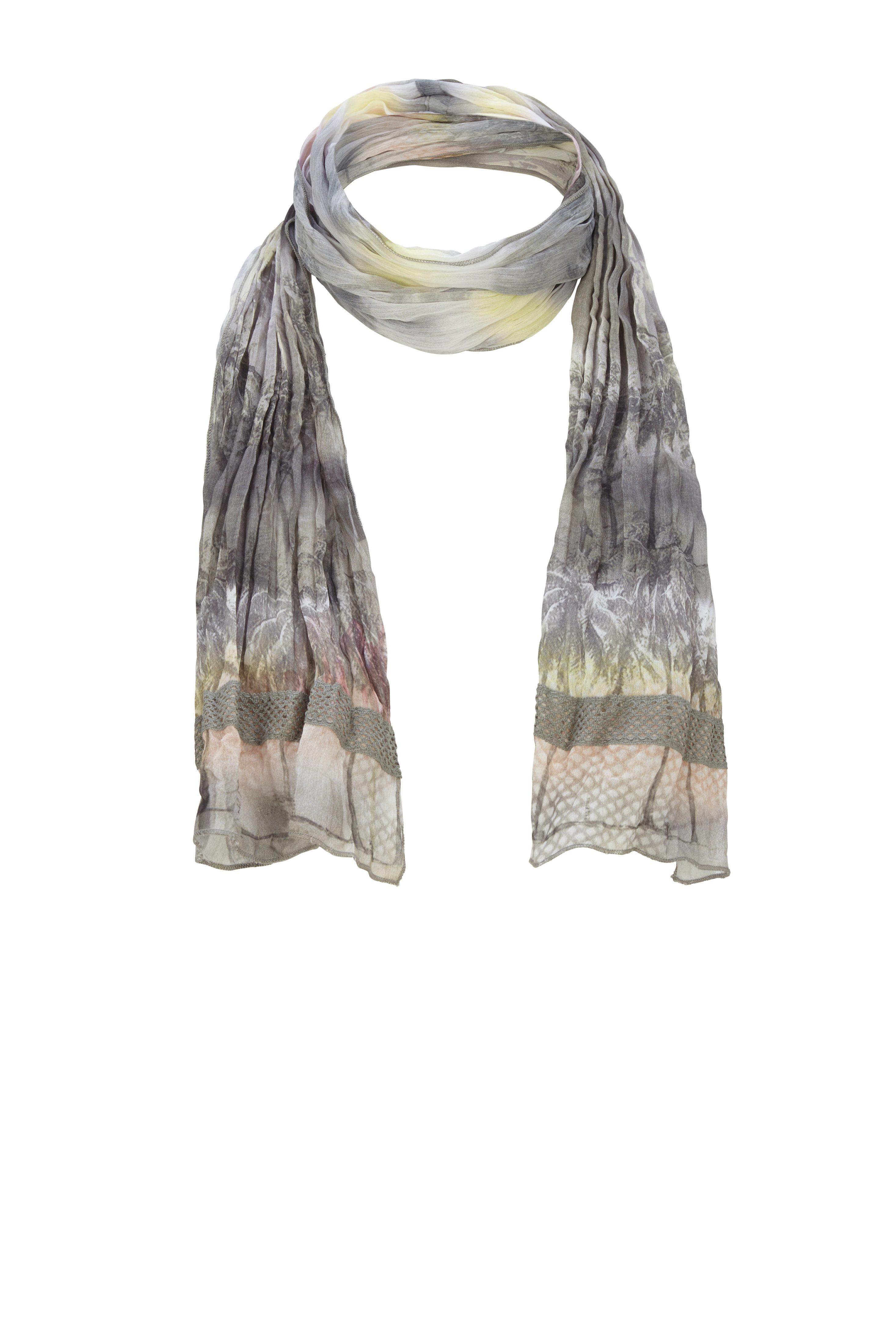 Rabe Sommerlicher Schal mit Palmenmotiv und Häkeldetails