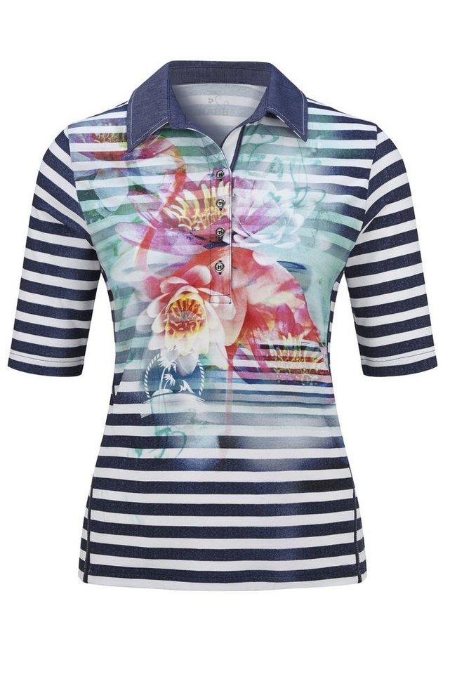 Rabe Hübsches Polo-Shirt mit Streifen und Seerosendruck in DEEP BLUE
