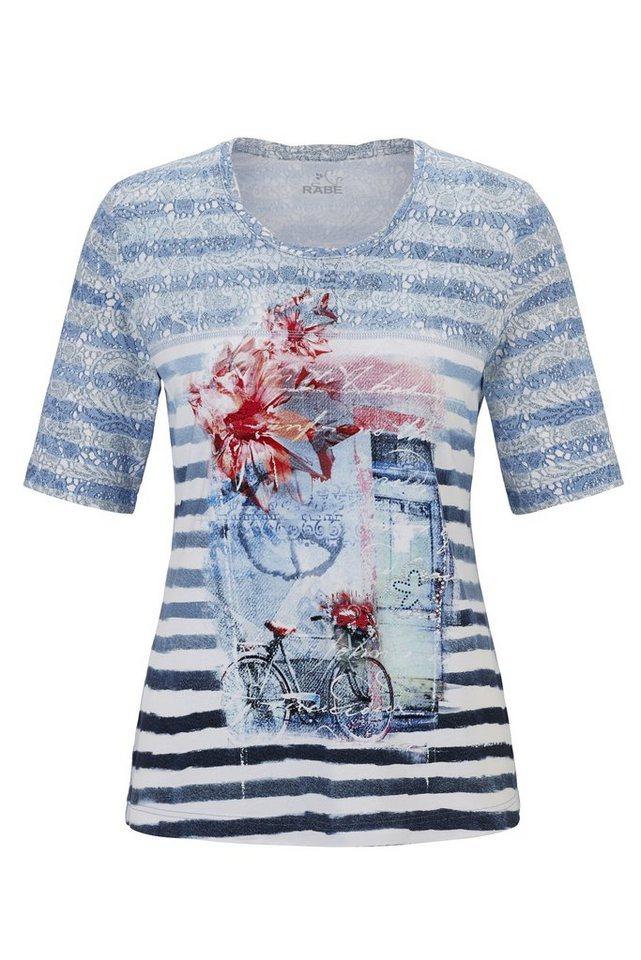 Rabe Gestreiftes T-Shirt mit romantischem Motivdruck in RAUCH