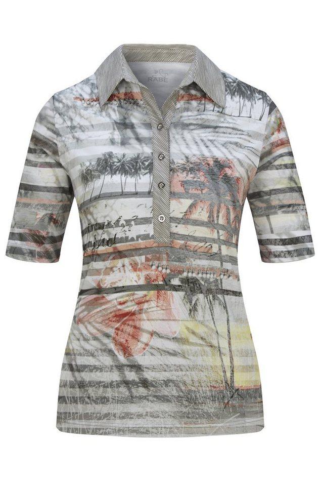 Rabe Modisches Polo-Shirt mit Palmendruck und Streifen in SCHILF