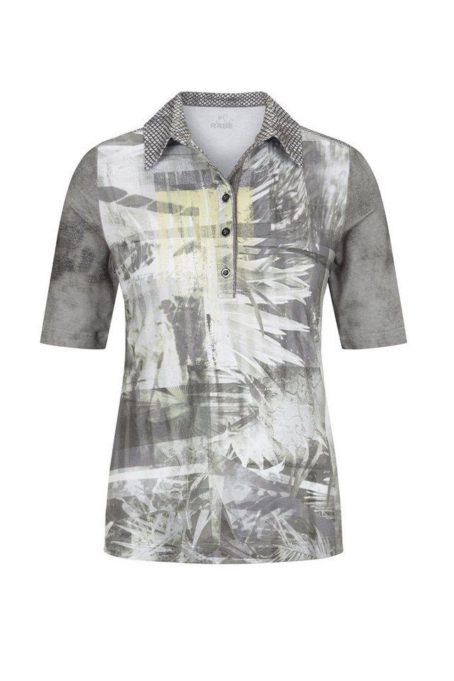 Rabe Polo-Shirt mit Glitzerfäden und abstraktem Print in SCHILF