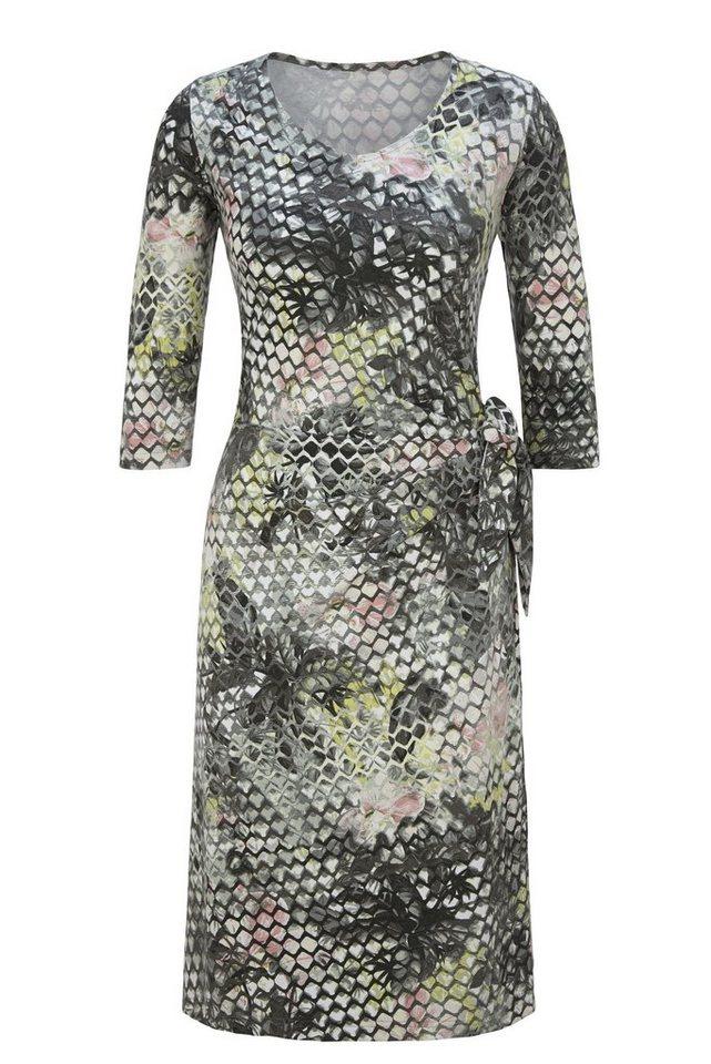 Rabe Trendy Kleid mit Mustermix und seitlichem Knoten in SCHILF