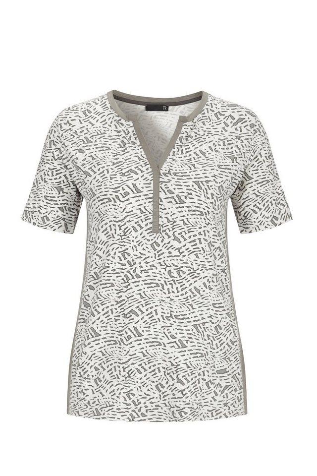 Thomas Rabe T-Shirt mit Allover-Print und V-Ausschnitt in SCHILF