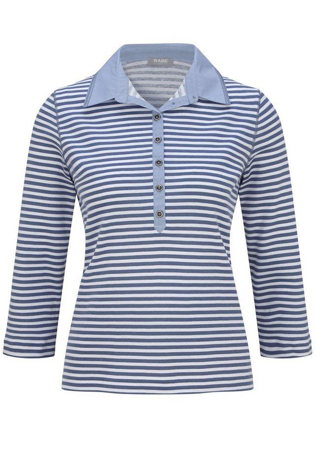 Rabe Gestreiftes Polo-Shirt mit und Knopfleiste langärmlig in RAUCH