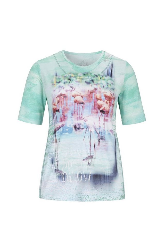 Rabe T-Shirt mit Flamingo Motiv in BISCAYA