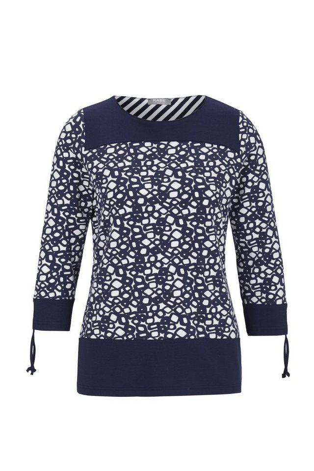 Rabe T-Shirt mit Allover-Print und Zierbändern in DEEP BLUE