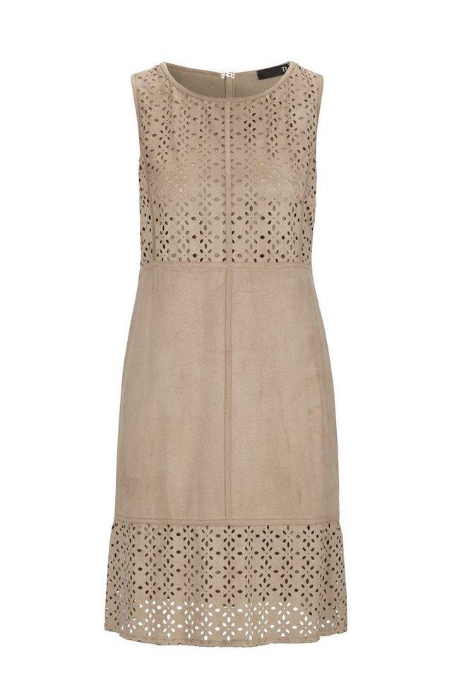 Thomas Rabe Kleid in Wildlederoptik und Lasercut-Design in WHISKEY