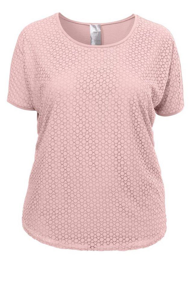 FRAPP Raffiniertes Shirt in V-Form »Laser Cut« in CANDY PINK