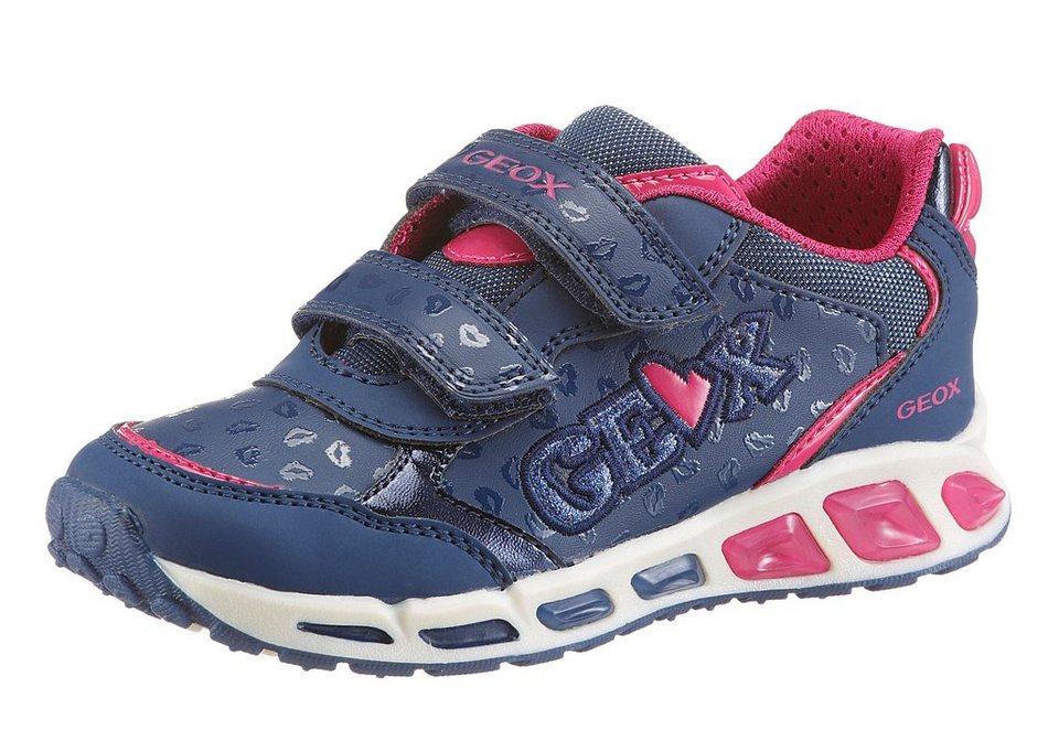 Geox Kids Klettschuh Sohle herausnehmbar in navy-dunkelblau-pink