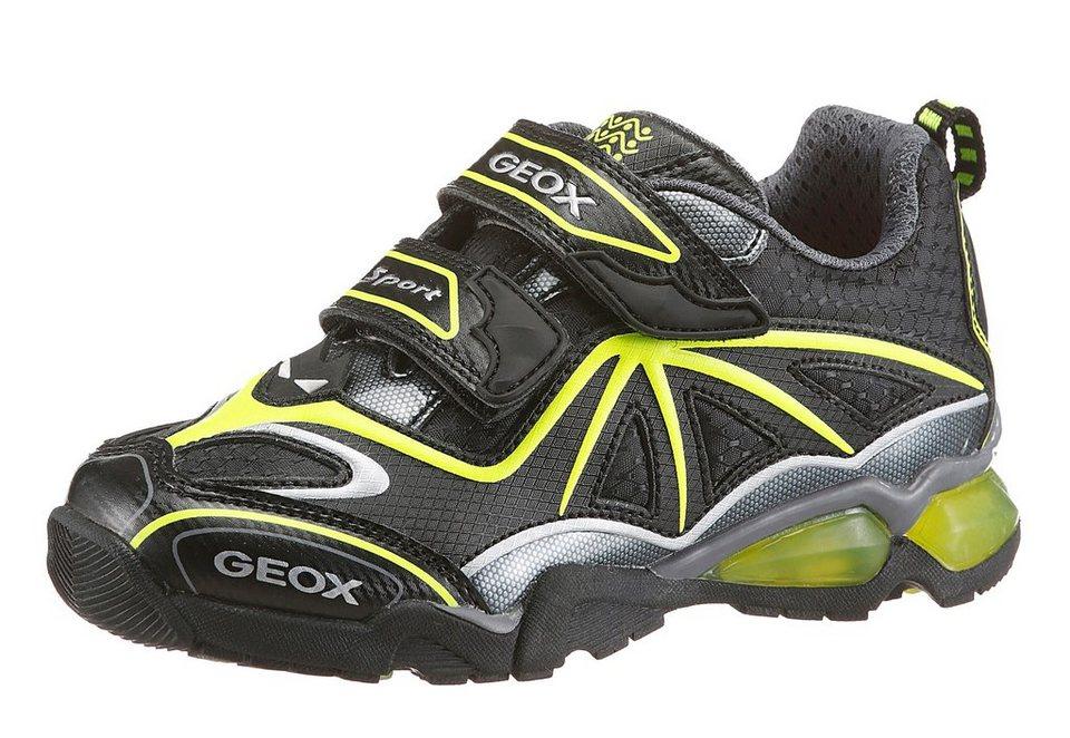 Geox Kids Klettschuh mit Logo Druck in schwarz-neongelb