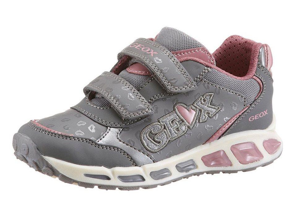 Geox Kids Klettschuh Sohle herausnehmbar in grau-rosa-hellgrau-rosé