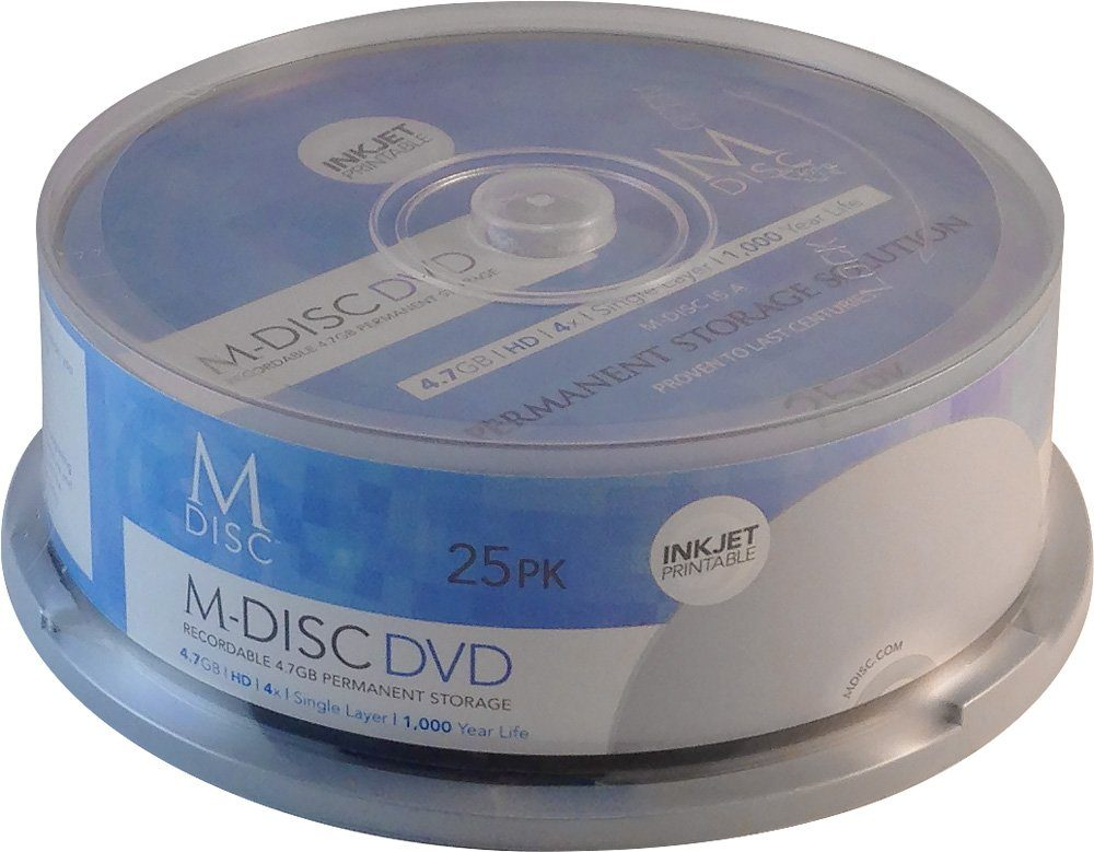 MILLENNIATA M-DISC DVD 4.7GB/120Min/4x Cakebox (25 Disc)