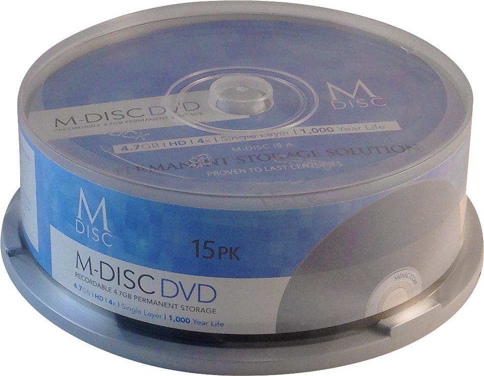 MILLENNIATA M-DISC DVD 4.7GB/120Min/4x Cakebox (15 Disc) in silver